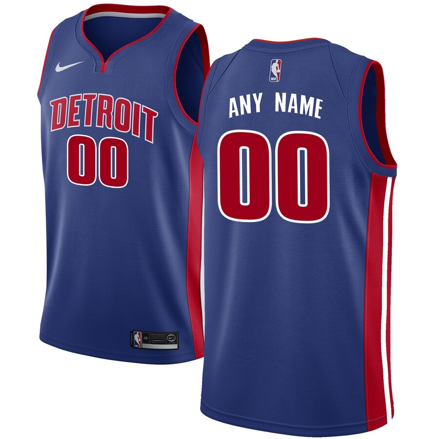 Detroit Pistons Custom Letter and Number Kits for Nike Blue Jersey